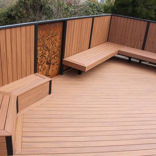 Outdoor shower deck - large scandinavian backyard outdoor shower deck idea in Melbourne