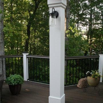 Low-maintenance Trex Transcend deck with aluminum handrail