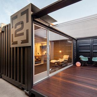 Design ideas for a small industrial deck in Santa Barbara.