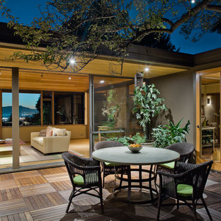 This is an example of a large midcentury terrace and balcony in San Francisco with no cover.