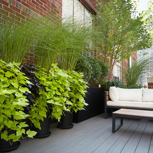 Deck container garden - small traditional rooftop deck container garden idea in New York with an awning