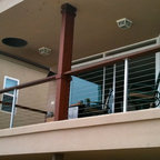 Modern Balcony Cable Rail - Hardwood and Stainless Steel post combination