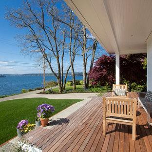 Deck - large farmhouse backyard deck idea in Seattle
