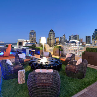 Inspiration for a contemporary rooftop deck remodel in Dallas with no cover