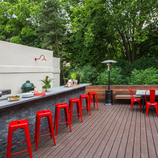 Example of a small trendy backyard outdoor kitchen deck design in Chicago with no cover