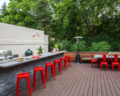 Example Of A Small Trendy Backyard Outdoor Kitchen Deck Design In Chicago