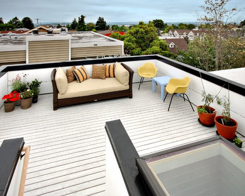 Garage top deck houzz for Small house design with roof deck
