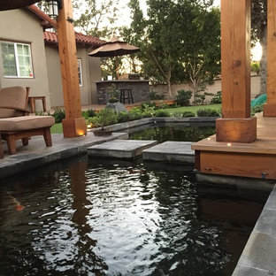 Modern Zen Koi Pond Backyard and Patio