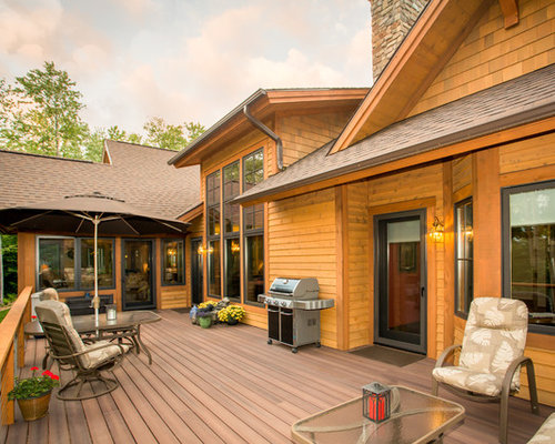 Large Mountain Style Backyard Deck Photo In Other