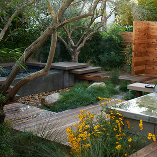 Example of a mid-sized minimalist backyard deck design in San Diego with a fire pit