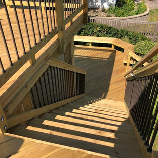 Multi-level Wood Deck with Aluminum Spindles by Lake Zurich, IL Wood Deck Builde