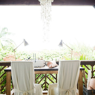 Inspiration for a shabby-chic style deck remodel in Hawaii with a roof extension