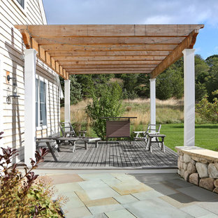 Deck - country deck idea in Boston with a pergola