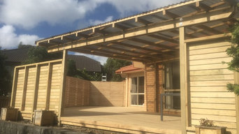 New deck, Screen fence, Pergola with roof