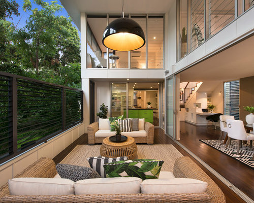 Tropical Deck In Brisbane With A Roof Extension.