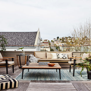 Example of a transitional rooftop deck design in San Francisco with no cover