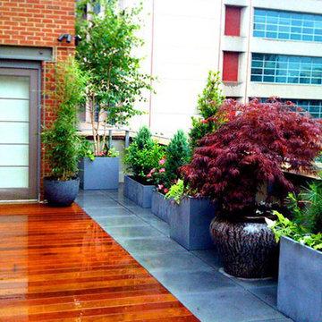 NYC Roof Garden: Terrace, Ipe Deck, Bluestone Pavers, Container Garden