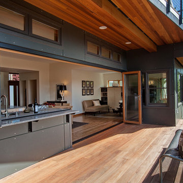Open wall kitchen and deck