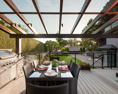 Example Of A Mid Sized Trendy Backyard Outdoor Kitchen Deck Design In  Vancouver With A