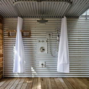 Outdoor shower deck - industrial outdoor shower deck idea in Toronto with a roof extension