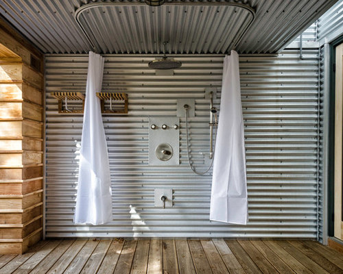 Corrugated Metal Shower Houzz