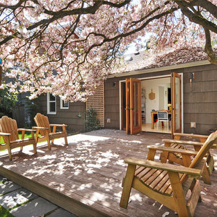 Elegant backyard deck photo in Seattle with no cover