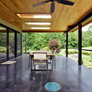 Mid-sized minimalist backyard deck photo in Orange County