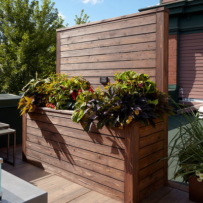 Inspiration for a mid-sized contemporary rooftop deck remodel in Chicago with no cover