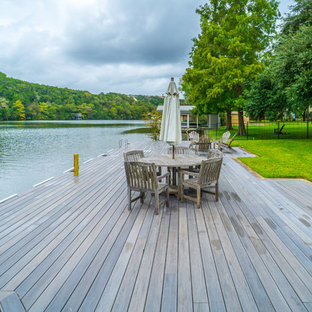 Example of a large trendy backyard dock design in Austin with no cover