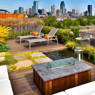 Modelo de terraza contemporánea, sin cubierta, en azotea