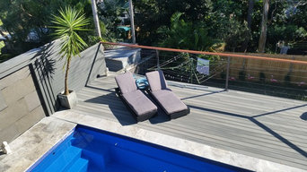 Pool, deck, water feature and balustrade