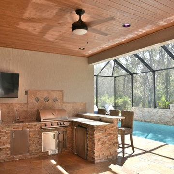 Poolside outdoor kitchen with Blaze gas grill