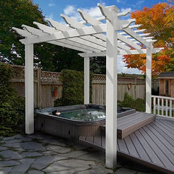 "Portland Pergola - The pergola is a thing of beauty. They can be bought completely built, in ready-to-assemble kits or custom built to fit perfectly over your back deck. They can create a stand-alone ""room"" in your garden area or provide a shade-making structure almost anywhere."