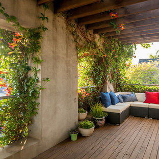 This is an example of a medium sized mediterranean back terrace and balcony in Los Angeles with a pergola and a living wall.