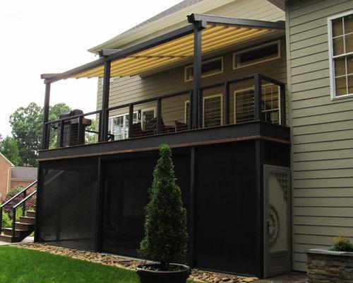 Mid Sized Contemporary Backyard Deck Idea In Miami With A Pergola