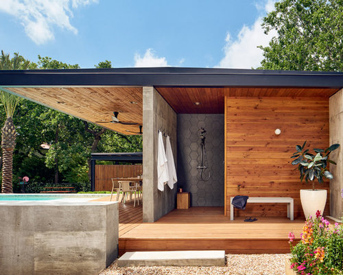 covered deck ideas. Mid-sized Trendy Outdoor Shower Deck Photo In Austin With A Roof Extension Covered Ideas