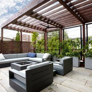 Modelo de terraza clásica renovada, de tamaño medio, en azotea, con jardín vertical y pérgola
