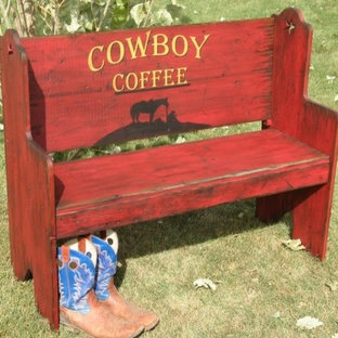 Red Cowboy Coffee Rustic Bench