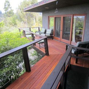 Redwood / Cable railing Pacific palisades wood deck.