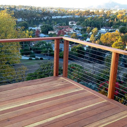 Redwood Deck and Cable Railing - Redwood and stainless wire rope