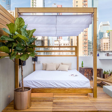 Retractable Daybed on Rooftop Deck, Hong Kong