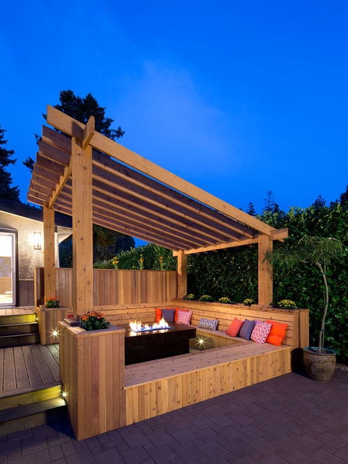Inspiration For A Transitional Deck Remodel In Vancouver With Fire Pit And Pergola