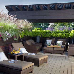 Example Of A Large Classic Rooftop Deck Design In Chicago With A Pergola