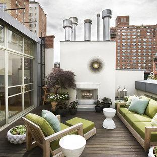 Immagine di terrazze e balconi minimal sul tetto con un giardino in vaso
