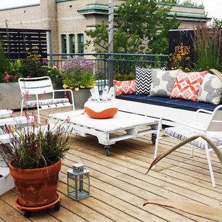 Diseño de terraza contemporánea, pequeña, sin cubierta, en azotea, con jardín de macetas