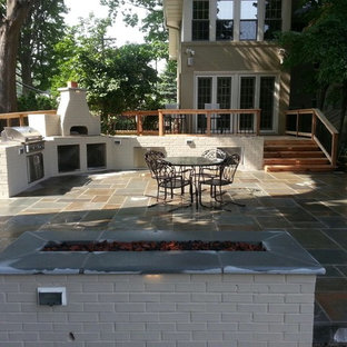 Inspiration for a mid-sized modern backyard deck remodel in Detroit with no cover