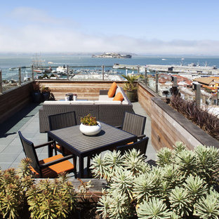 Contemporary rooftop deck in San Francisco with a container garden and no cover.