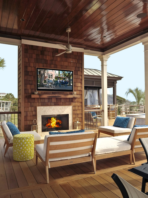 Deck Fireplace Houzz