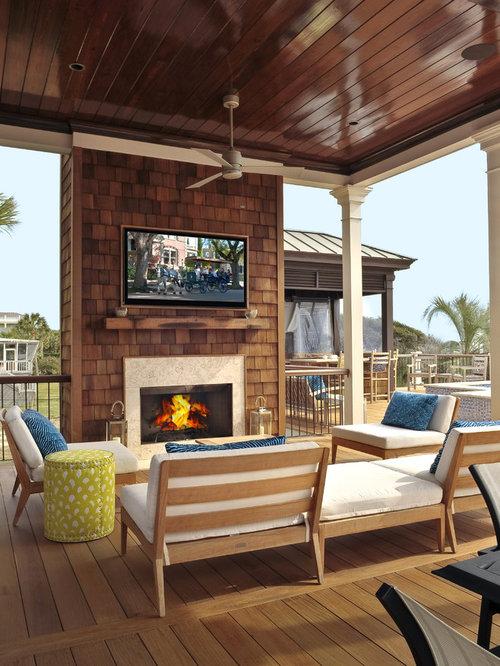 Deck Fireplace Houzz