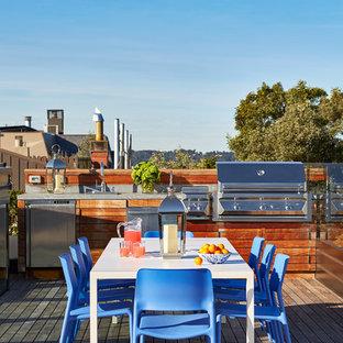 Idee per una terrazza minimal di medie dimensioni, sul tetto e sul tetto con nessuna copertura